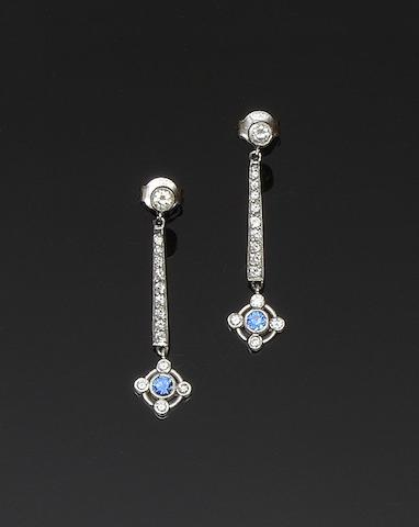 A pair of sapphire and diamond earpendants