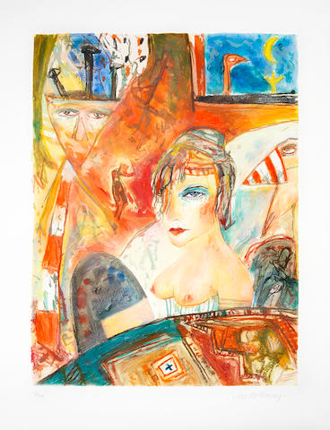 John Bellany CBE RA HRSA LLD(Lon) (British, born 1942) The Bellany Sextet The complete set of six etchings with aquatint printed in colours, 1993, titled 'Samson & Delilah', 'Moonlight', 'The Presence', 'Perdu', 'The Lovers' and 'The Fright', each on wove, each signed and numbered 23/50 in pencil, with full margins, loose as issued within the original red linen-covered portfolio, each 745 x 555mm (29 3/8 x 21 7/8in)(PL) 6 unframed