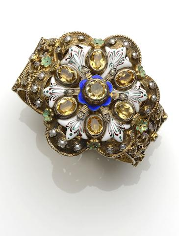 An Austro-Hungarian enamel, half pearl and paste hinged bangle