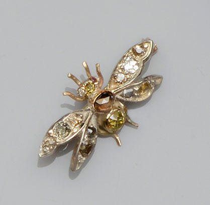 A vari-coloured diamond set insect brooch
