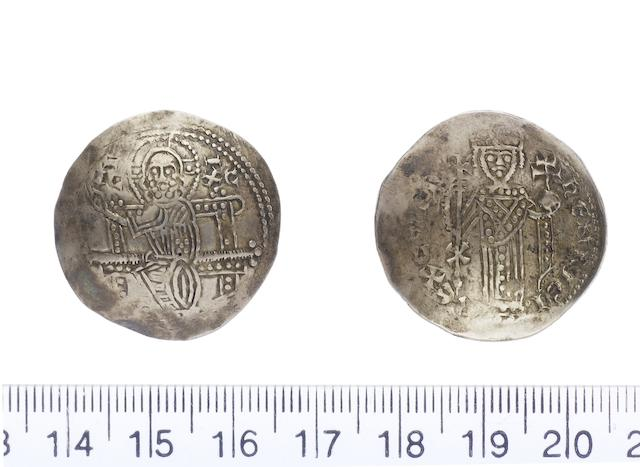 Henry I AD 1218-1253, Electrum Bezant (3.78g).type 3c.dies A/a.. IC-XC, christ enthroned, right hand raised in benediction. R.hENRICI REX CYPRI, king standing facing holding globus cruciger in right hand and long cross in left, X on staff of cross (Corpus P1.12.1.).