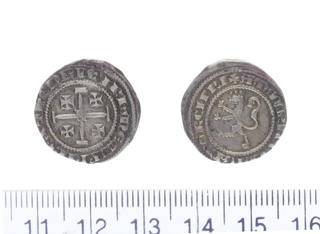 Henry II with Amaury AD 1306-1310, AR.Gros petit.(2.23g) die A.+hENRIC'IRhM E CIPRE REX, cross Jerusalem. R.+AMALRIC CVBNATOR CIPRI, rampant lion left. Three pellets above head.(Corpus P1.3.12-13, Schl.V1.18).