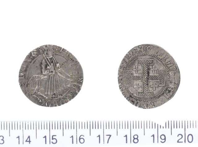 James II AD 1460-1473 AR.Gros.(3.17g).Type D dies D/a..IACOBUS DEI G, James II riding night holding naked sword in right hand over right shoulder. R.+R IERV CIPRI ET AR MINIA, hatched central cross of Jerusalem. (Corpus P1.21.1.).