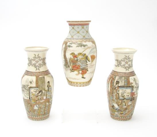 A pair of Satsuma vases and another Meiji, all signed 'Niimura'