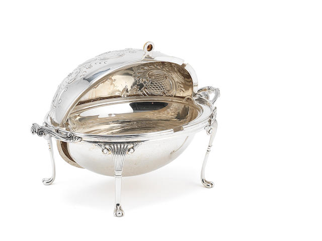 A Victorian silver roll-over top breakfast dish by Harrison Bros. & Howson, Sheffield 1894