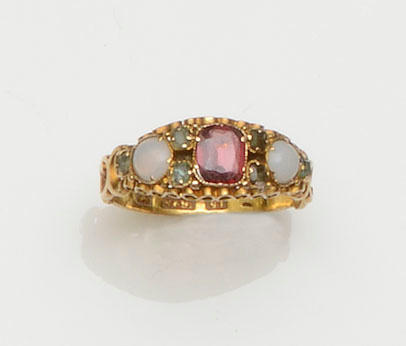 A mid Victorian garnet, emerald and opal ring (4)