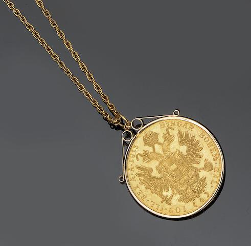 An Austro Hungarian 4 Ducat coin set pendant
