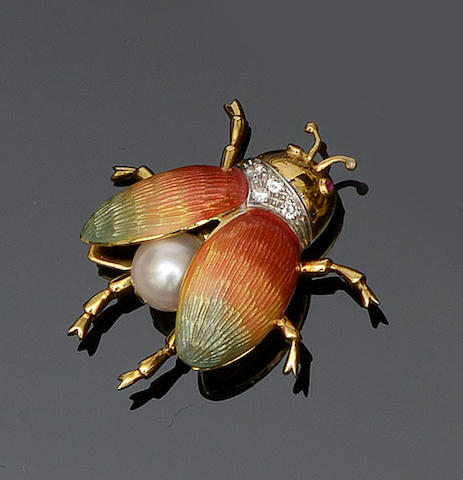 A gem set and polychrome enamel bug brooch