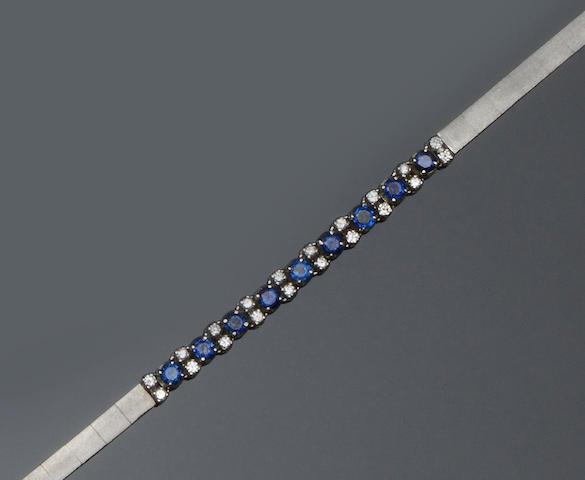 A sapphire and diamond bracelet