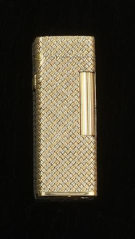 Dunhill: A two colour precious yellow metal rectangular lighter