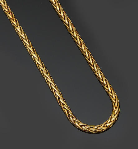 An 18ct gold woven-link necklace