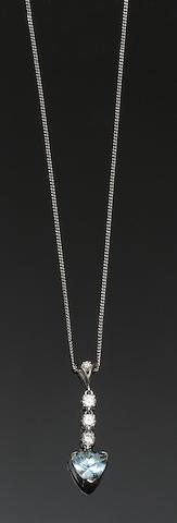An aquamarine and diamond pendant