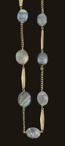 An opal bead necklace