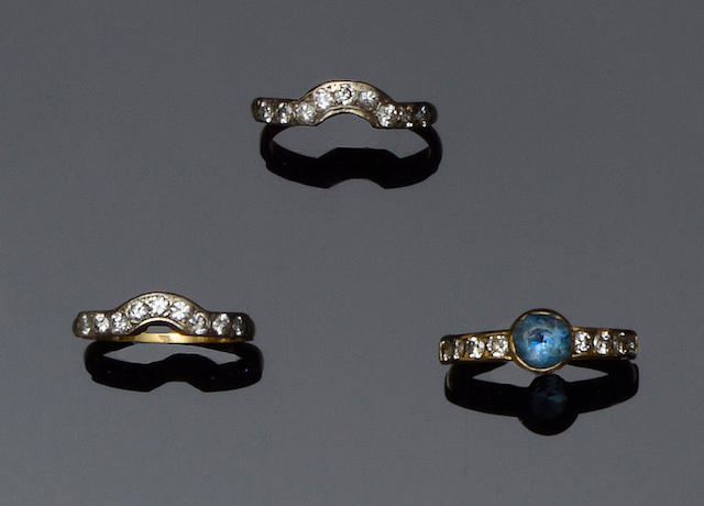 An aquamarine and diamond ring suite  (3)