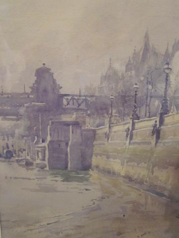 Adam E Horne (British, 1883-1955) The Embankment on Thames signed, watercolour, 33cm x 24cm; together with Sir Frank Short (British, 1857-1943) The Thames at Twickenham, signed, aquatint, 20.5cm x 29cm; also three further London views, dry point etchings, and another (6)