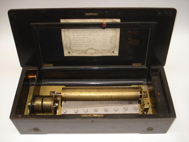 Eight air lever wind musical box, number 2932, with inlaid lid