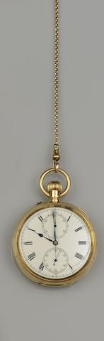 An open face chronograph pocket watch and chain(2)