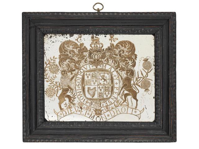 An important Charles II diamond-point engraved mirror panel, circa 1660