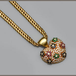A multi gem set heart-shaped pendant and chain