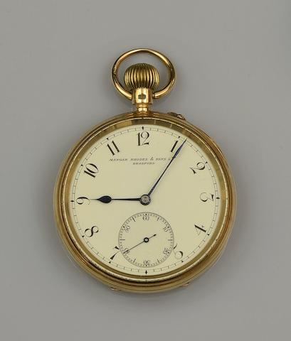 An 18ct gold pocket watch and a fob watch (3)