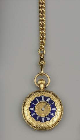 Thomas Russell & Son: An 18ct gold half hunter fob watch