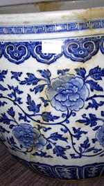 A Chinese large blue and white fishbowl,