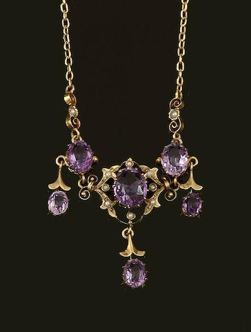 An amethyst and seed pearl necklace