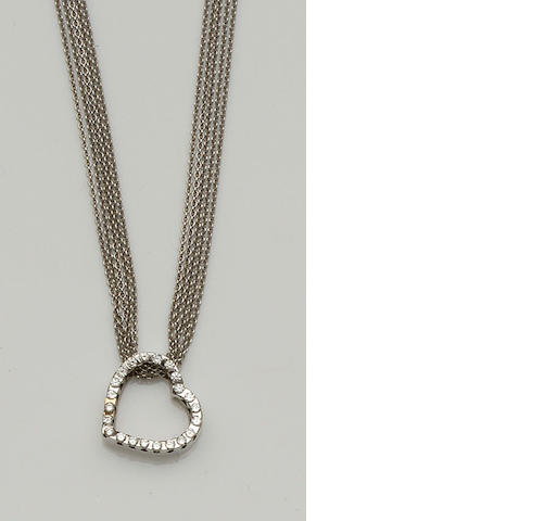 A diamond heart pendant on chain