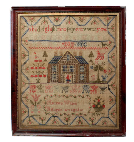 A Victorian stitched sampler,by Margaret Wilson, 1860