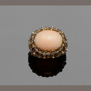 A coral and diamond dress ring