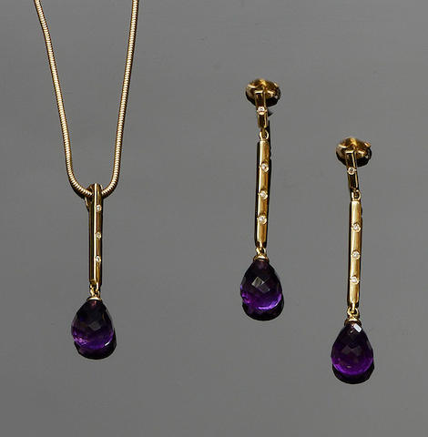 An amethyst and diamond pendant and earpendants suite (2)