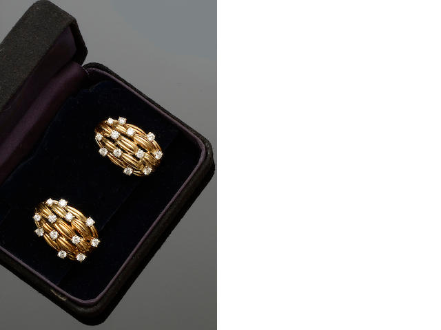 Tiffany & Co: A pair of diamond set earclips