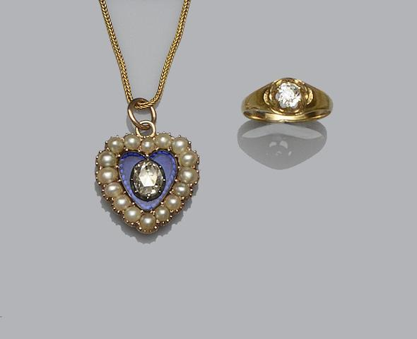 A diamond, half pearl and blue enamel pendant and a diamond single stone ring (2)