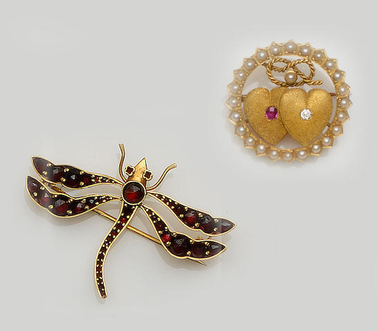 Two vari gem-set brooches and two full hoop eternity rings (4)
