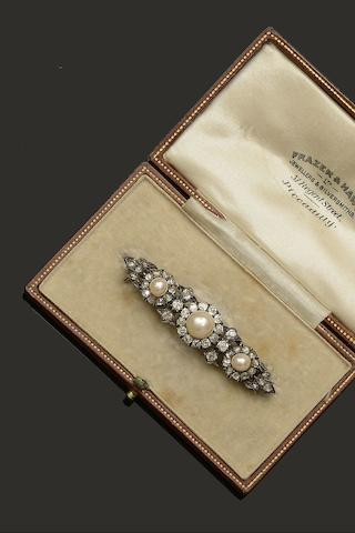 A late Victorian half pearl and diamond bar brooch