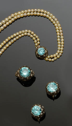 A suite of zircon, diamond and cultured pearl jewellery (3)