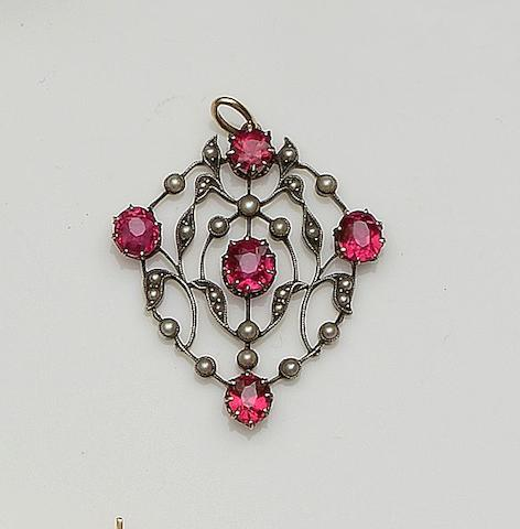 A red spinel and seed pearl pendant