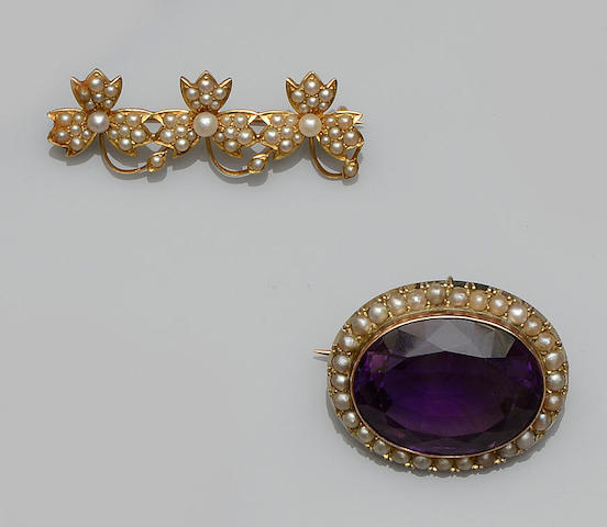 An amethyst and half pearl brooch and a seed pearl brooch (2)