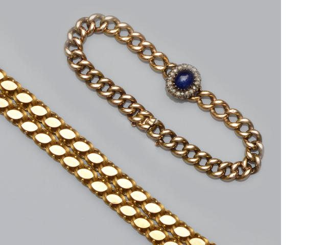 A chain-link necklace and curb-link bracelet (2)