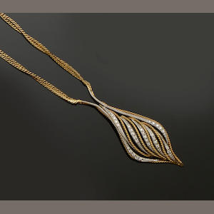 Boodles: An 18ct gold diamond set pendant necklace