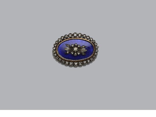 A Georgian style blue enamel and diamond brooch