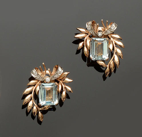 A pair of aquamarine and diamond earclips