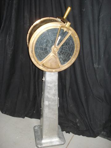 A pedestal Engine Room telegraph. 43ins. (110cm)high.