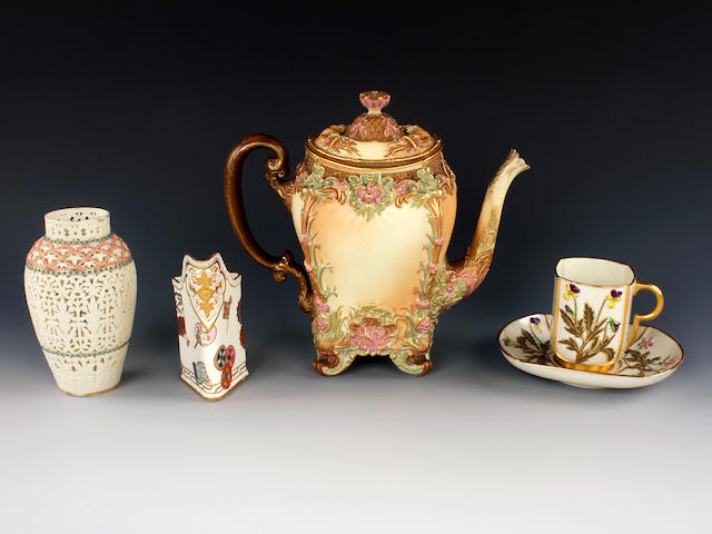 A Royal Worcester coffee pot and cover, a Grainger's pierced vase, a Royal Worcester triangle jug and a cup and saucer modelled by Edward Raby, late 19th century