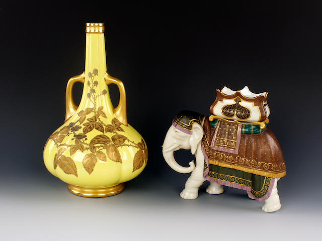 A Royal Worcester elephant vase modelled by James Hadley and a Royal Worcester yellow ground bottle vase , circa 1880