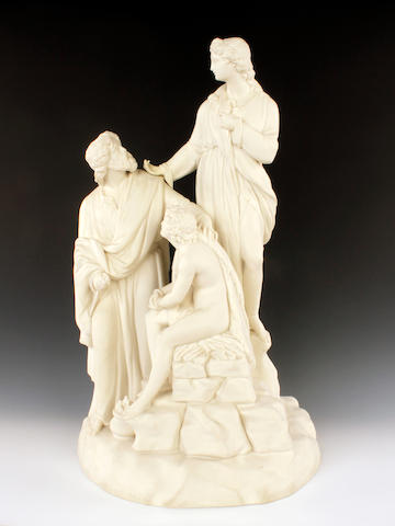 A Wedgwood 'Carrara' or parian figure group, circa 1850
