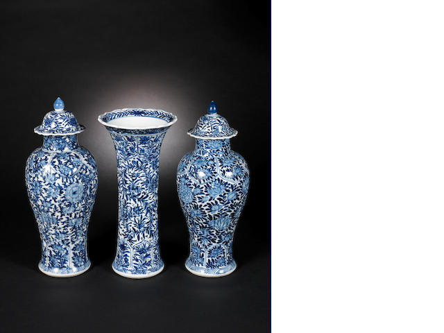 Three blue and white vases Qing Dynasty
