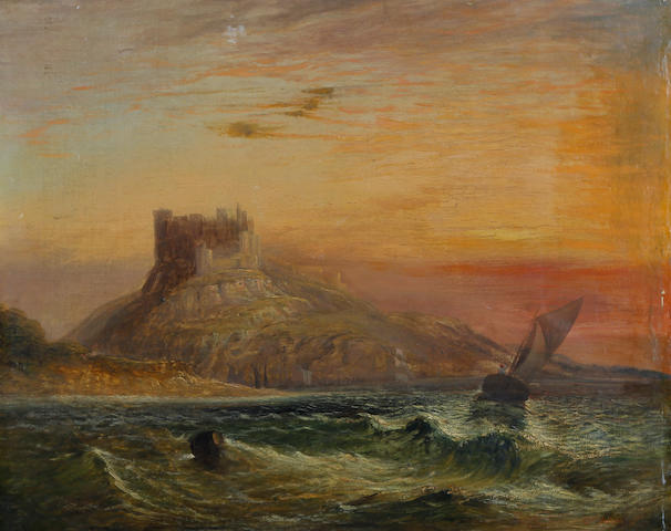 Charles Archer (British, 1855-1931) Ships sailing off the coast at sunset, with castle and cliff beyond
