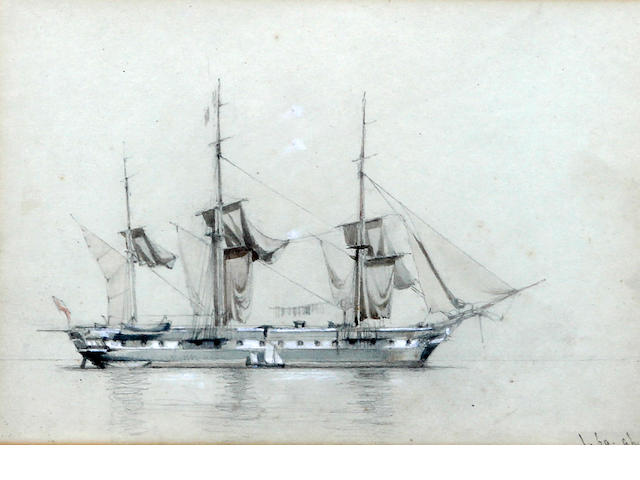 Mid-19th Century English School A British Naval vessel at anchor drying its sails