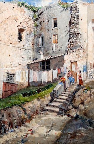 Mariano de Franceschi (Italian, 1849-1896) 'La Rupe Carpia'